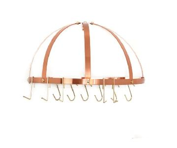 Old Dutch Satin Copper Pot Rack w/ Grid & 12 Hooks