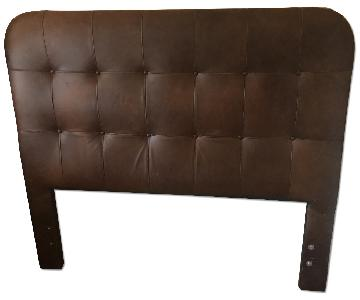 Brown Leather Tufted Headboard