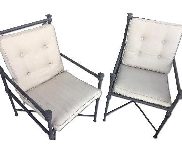 Restoration Hardware Outdoor Metal Chairs w/ Cushions