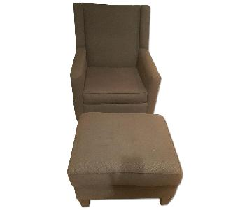 Brown Fabric Wingback Chair & Ottoman