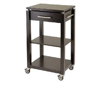 Winsome Wood Linea Dark Espresso Kitchen Cart w/ Wheels