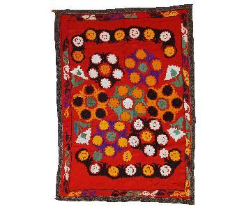 Vintage 1960s Uzbek Embroidered Suzani Rug
