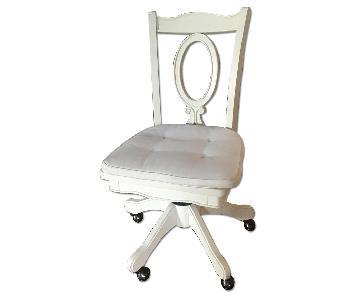 Pottery Barn White Wood Swivel Chair