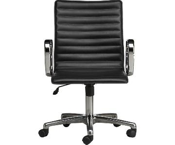Crate & Barrel Ripple Black Leather Office Chair