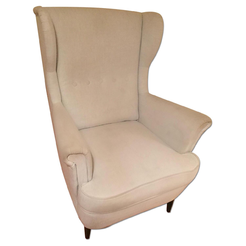 Ikea Strandmon BlueGrey Wingback Chair AptDeco