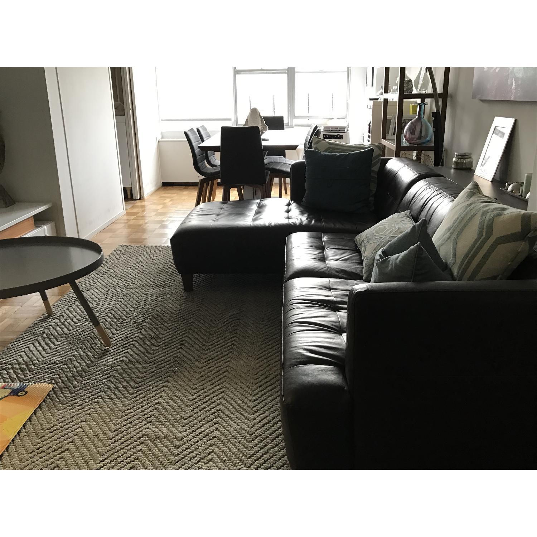 Macy s Milano Brown Leather Sectional Sofa AptDeco