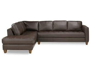 Macy's Milano Brown Leather Sectional Sofa