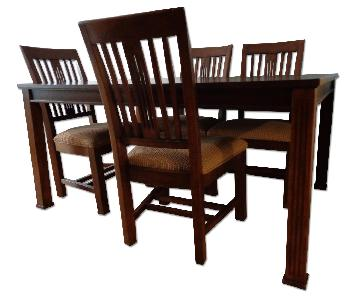 Macy's Lacquer Craft Mission/Shaker Style Table w/ 6 Chairs
