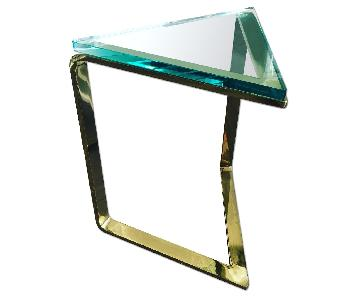 Vintage Pace Collection Brass Triangle Side Table