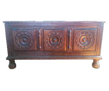 Vintage Carved Wooden Trunk