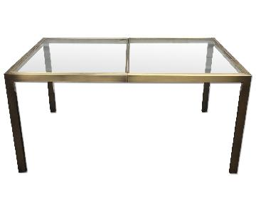 Design Institute Vintage Brass Expandable Dining Table