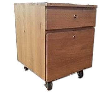 Crate & Barrel 2 Drawer Oak File Cabinet