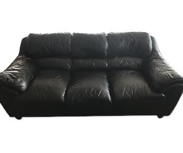 Raymour & Flanigan Black Leather Sofa