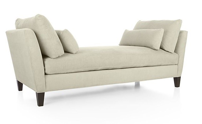 Crate & Barrel Marlowe Daybed in Oyster Velvet Fabric