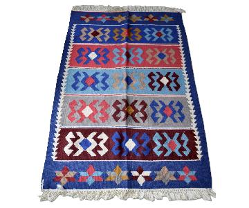 Vintage Uzbek Ethnic Wool Hand Woven Rug