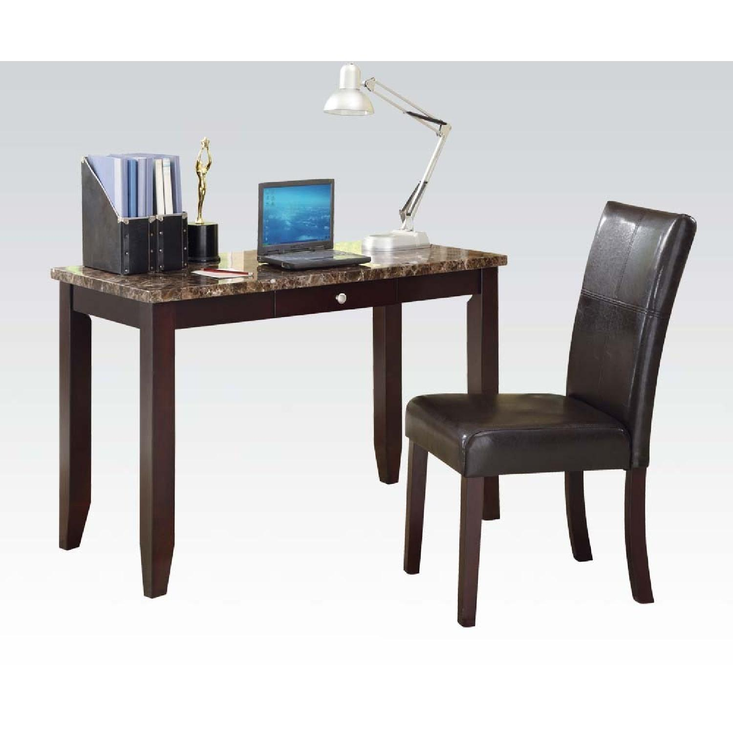Faux Marble Writing Desk & Upholstered Chair