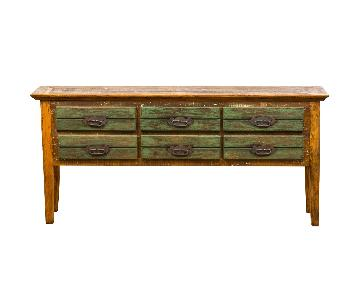 Vintage 6 Drawer Console Table