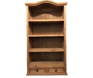 Rustic Pine Bonnet Top Bookcase w/ Bottom Drawers