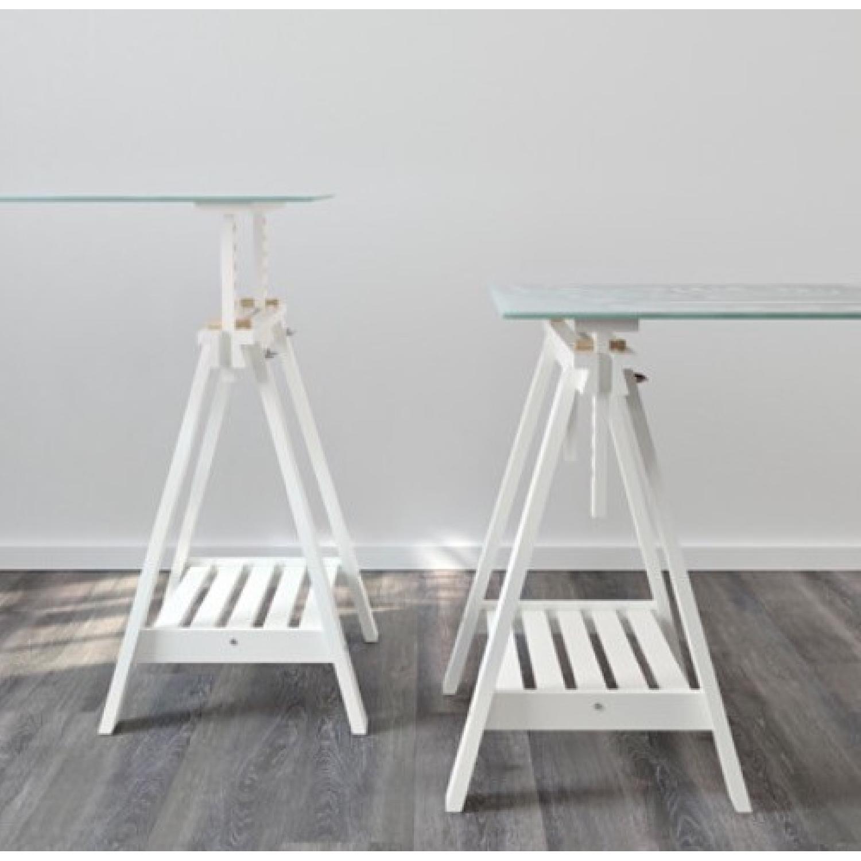 Modern Glass Desk ikea glasholm/finnvard modern glass desk - aptdeco