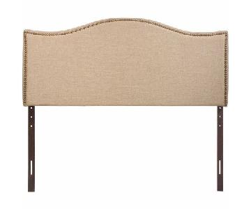 Queen Nailhead Fabric Headboard