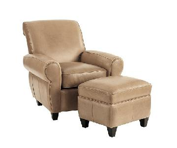 Ballard Designs Paris Leather Chair & Ottoman