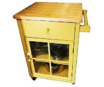 Bed Bath & Beyond Yellow Kitchen Cart w/ Storage & Wood Top