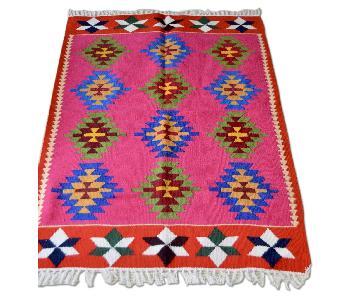 Vintage Uzbek Ethnic Hand Woven Wool Rug