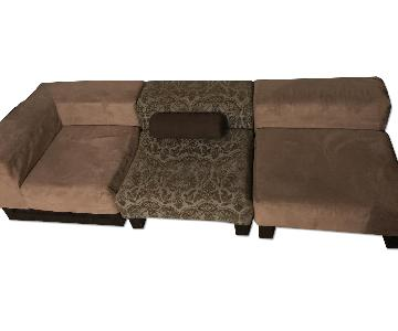 West Elm Contemporary Brown Suede Sectional Couch