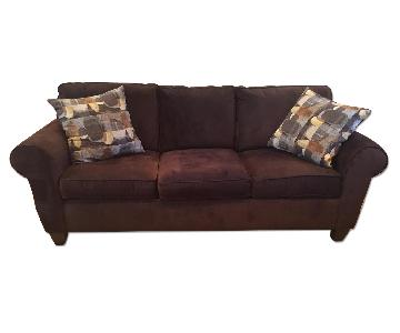 Raymour & Flanigan Brennan Chocolate Corduroy Sofa + Chair