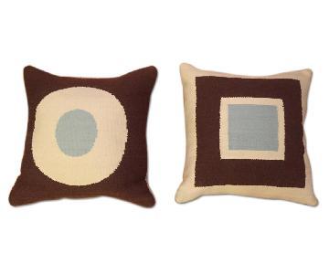 Jonathan Adler Reversible Pillow in Brown/Blue/Cream
