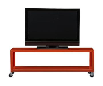 Cb2 Bright Orange Rolling TV Stand/Coffee Table