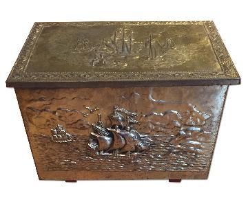 Antique C 1940s English Brass Heart Box