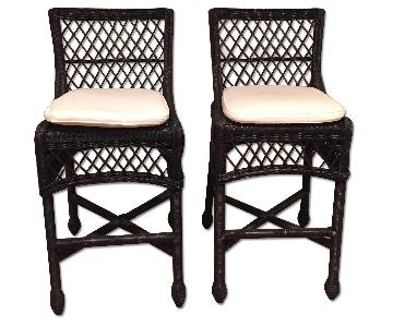 Pottery Barn Delaney Barstools in Black w/ White Cushion