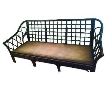 Matte Black Vintage Rattan Sofa Frame