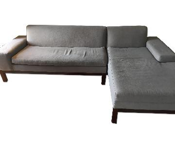 West Elm Gray/Blue Sectional w/ Left Arm Chaise