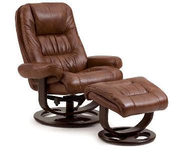 Lane Furniture Brown Leather Reclining Swivel Chair