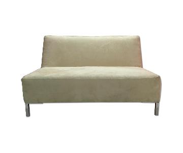 Cream Suede Armless Settee