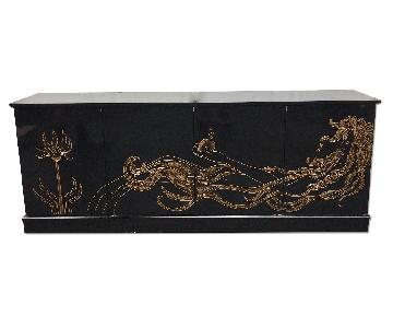 Vintage Modern Black Lacquer Credenza w/ Gold Motif