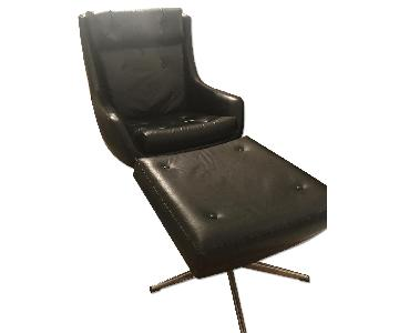 Black Antique Chair & Foot Rest