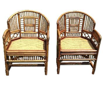 Vintage Brighton-Style Bamboo Arm Chairs