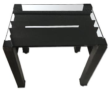 ABC Home/Cisco Reclaimed Iron Side Table w/ Black Glass Top