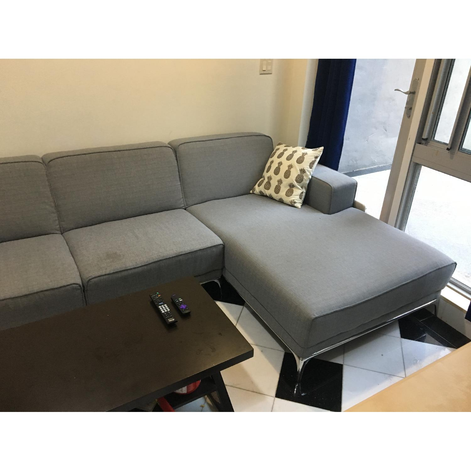 Modern Grey Couch w/ Chaise Lounge-0