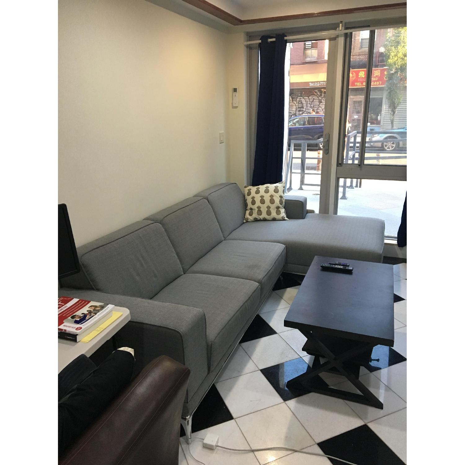 Modern Grey Couch w/ Chaise Lounge-2
