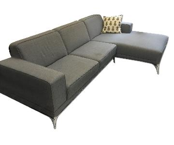 Modern Grey Couch w/ Chaise Lounge