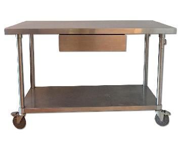 Stainless Steel Chef Work Table w/ Wheels & Drawer