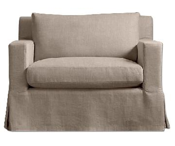 Restoration Hardware Belgian Track Arm Down Feather Chair