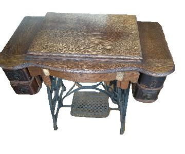 Antique Treadle Sewing Machine Desk