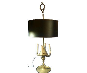 Antique Engraved Brass Tall Desk/Table Lamp