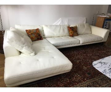 Roche Bobois 2 Piece White Leather Sectional Sofa