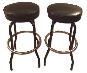 Mr Bar Stool Black Leather/Metal Bar Stools